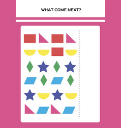 Shapes and colors what come next educational vector