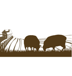 Sheep farm rolling hills landscape vector