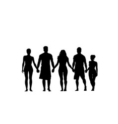 silhouette people group stand holding hands man vector image