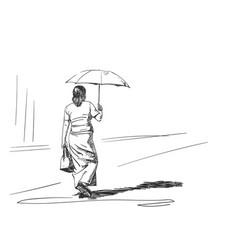 sketch walking woman with sun umbrella back vector image