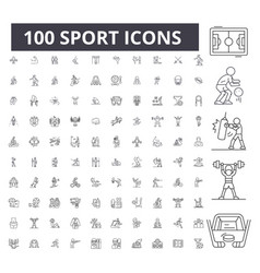 sport editable line icons 100 set vector image