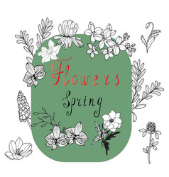 spring background with beautiful flowers and vector image