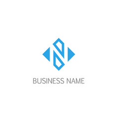 square letter n geometry logo vector image