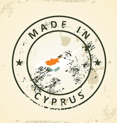 Stamp with map flag of Cyprus vector image