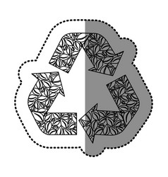 sticker monochrome recycling symbol with arrows vector image