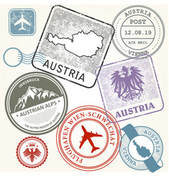 Travel stamps set - austria vienna and alps vector