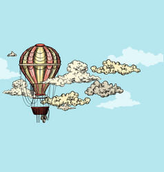 vintage balloon in sky between clouds vector image