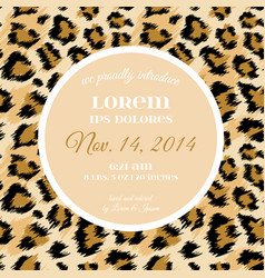 Wedding invitation template fashionable leopard vector