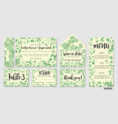 Wedding invite invitation menu envelope rsvp vector