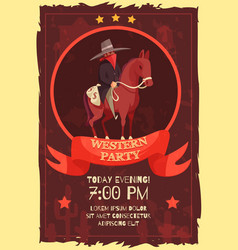 Western party flat poster vector