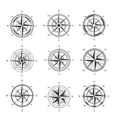 Wind rose set monochrome cartography symbol vector