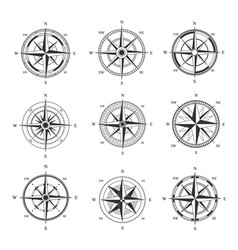 wind rose set monochrome cartography symbol with vector image