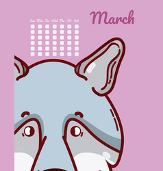 wolf and calendar cartoon concept vector image