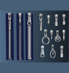 Zipper fasteners and pullers realistic set vector