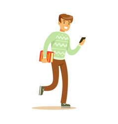 a young man walking and holding a book and a vector image vector image
