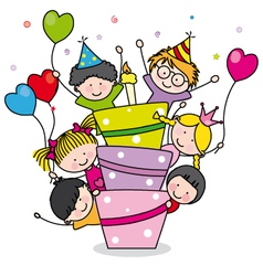 Children with a cake vector image