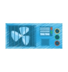 Drawing computer cooler fan electronic vector