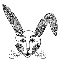 Hare rabbit doodle style Hand drawn vector image vector image