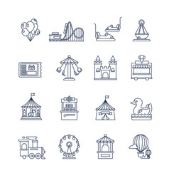 Luna park amusement line icons vector