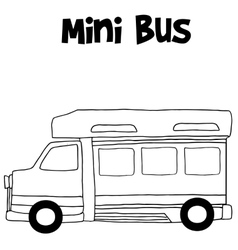 Mini bus hand draw vector image vector image