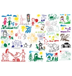 stylized childrens drawings vector image vector image