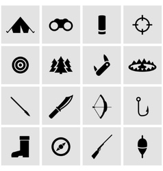 black hunting icon set vector image vector image