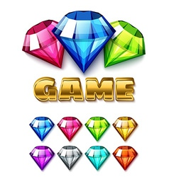 Cartoon Diamond Shaped Gem icons set vector image