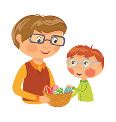 family preparing basket with eggs for easter vector image