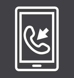 incoming call line icon contact us and website vector image vector image