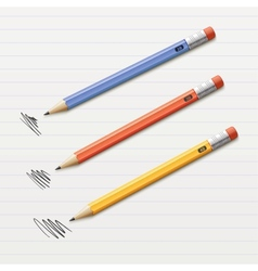 of 3 sharpened pencils vector image vector image