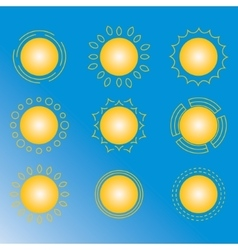 set of sun icon vector image vector image
