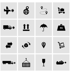 black logistic icon set vector image vector image