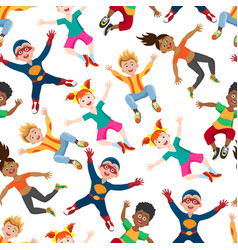 cute happy kids seamless pattern vector image