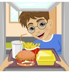 hands giving tray with fast food meals vector image