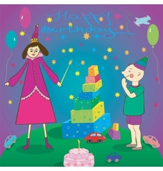 Happy Birthday Gifts boy cake and fairy vector image vector image