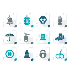 stylized surveillance and security icons vector image