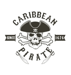Caribbean pirate Pirate skull in admiral vector image