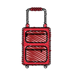 color crayon stripe travel suitcase with handle vector image vector image
