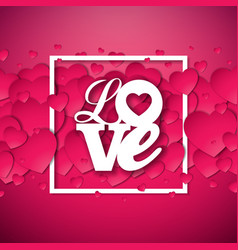 happy valentines day with red hearth vector image vector image