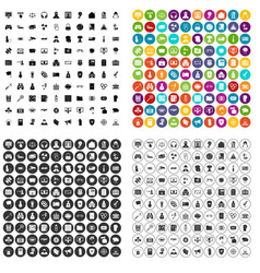 100 hacking icons set variant vector image