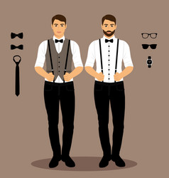 A man with suspenders the groom vector