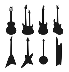 Acoustic electric guitars black and white icons vector