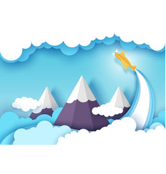 air flight layered paper cut style vector image