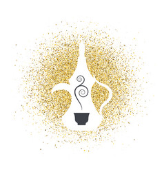 arabic coffee on golden glitter abstract vector image