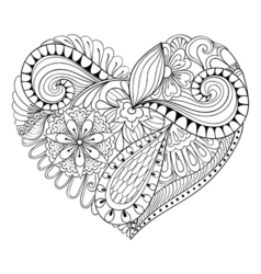 Artistic floral doodle heart in entangle style vector