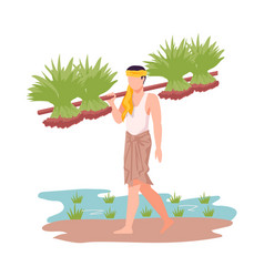 Asian male farmer carrying agricultural crops vector