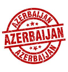 azerbaijan red round grunge stamp vector image