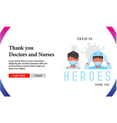 Banner thank you doctors and nurses for medical vector