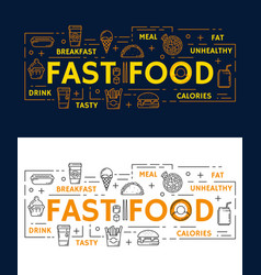 Banners with fast food vector