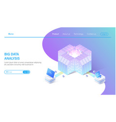 big data isometric abstract 3d hosting server or vector image